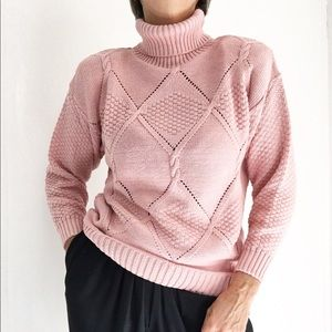 Dusty Rose Turtleneck Sweater Crochet Style Front